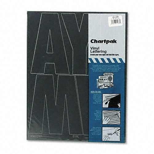 Chartpak Press-On Vinyl Uppercase Letters, 6 High, Black